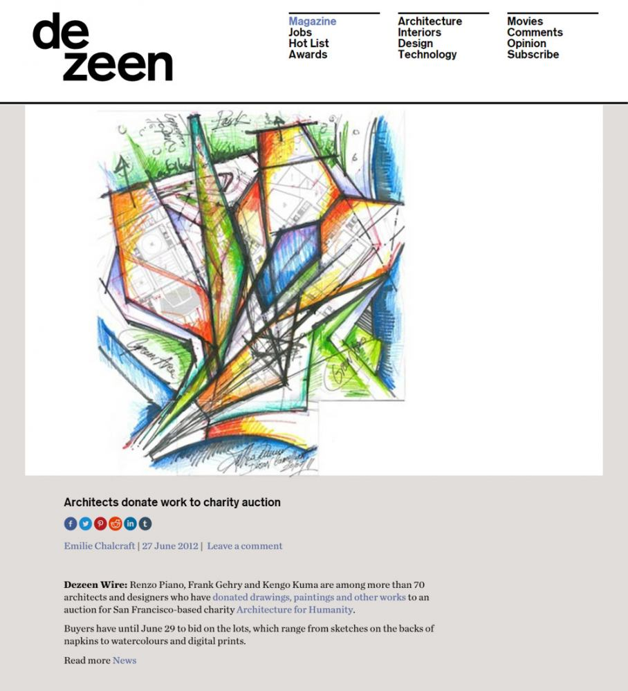 MCA Online articles Dezeen Donation